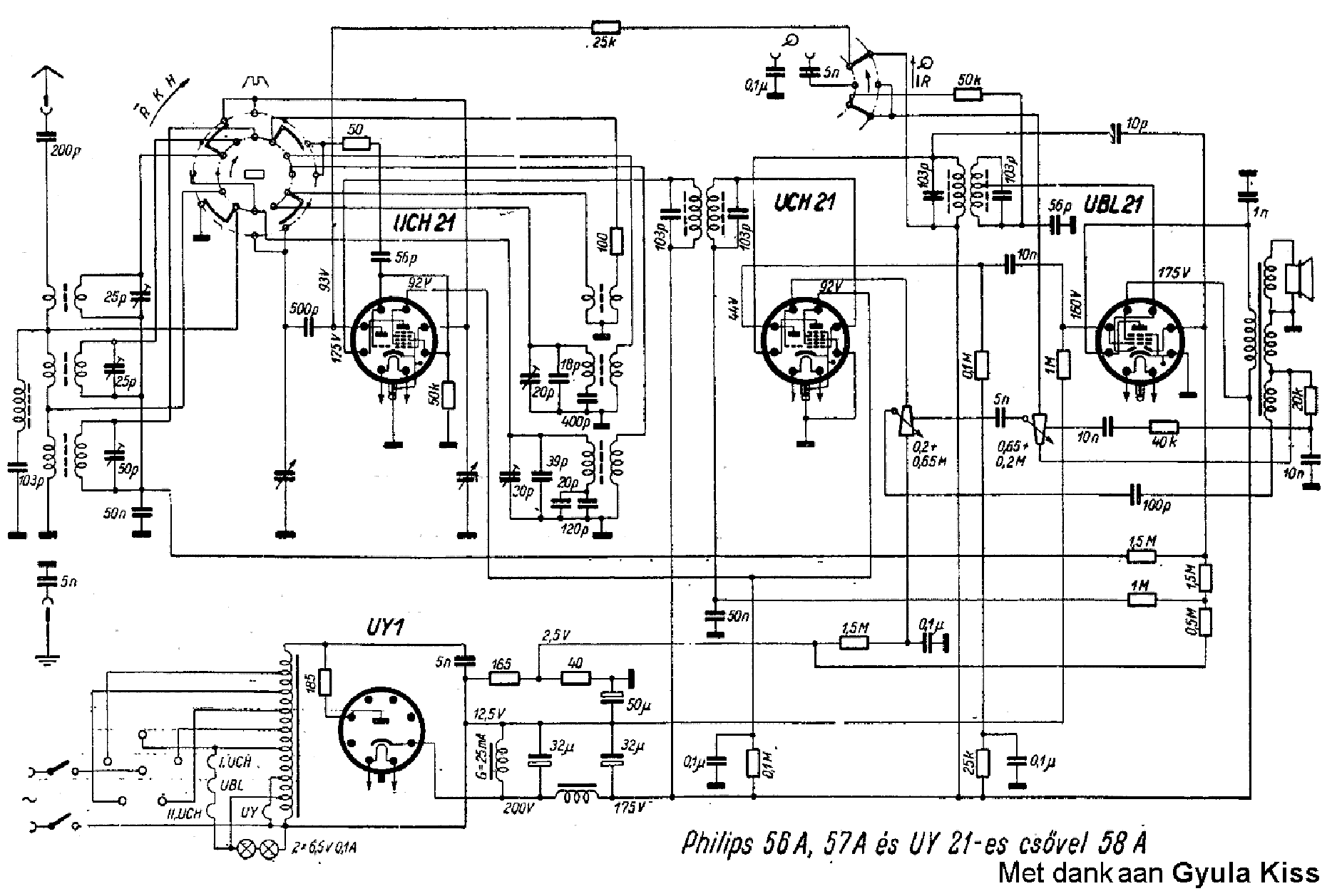 Philips 56a 57a And Uy21 58a Ac Dc Radio Sch Service