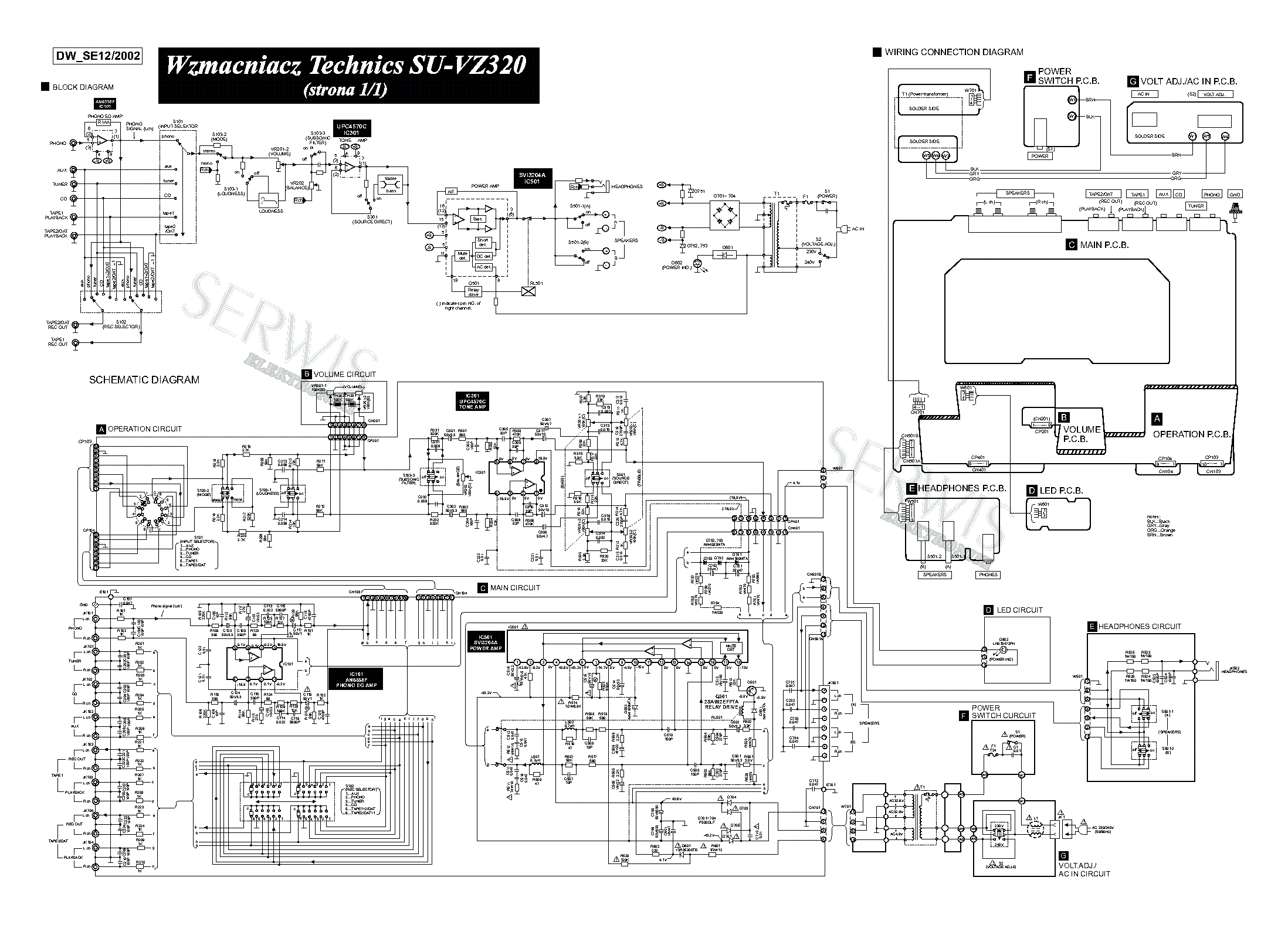 Technics Su Vz320 Amplifier Sch Service Manual Download Schematics Eeprom Repair Info For