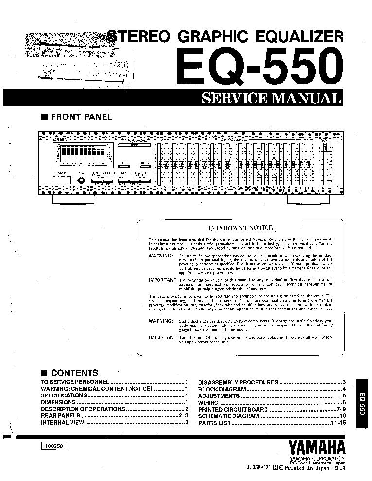 Yamaha Eq 550 Sm Service Manual Download Schematics