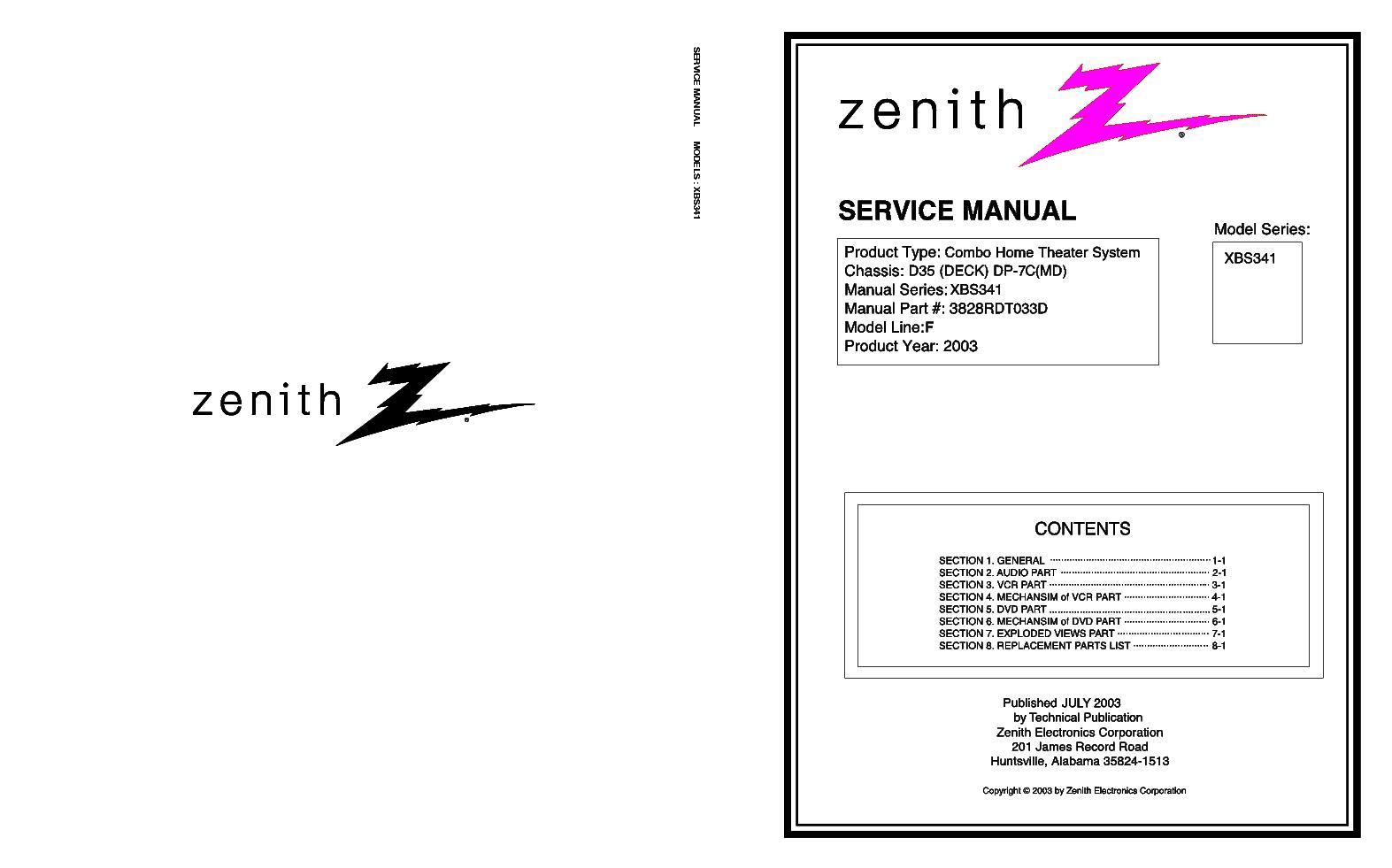 Zenith Royal D 1 2 Sch Service Manual Download