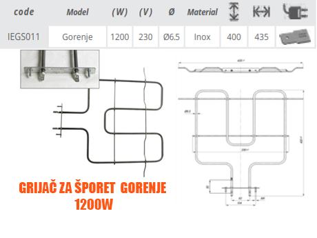 Šifra proizvoda: IEG S032  Snaga: 1200 + 1100W Napon: 230 V Materijal cijevi: Inox Promjer cijevi Φ: 6,5 mm Dimenzije:  Širina mm:465mm Dužina mm:375 mm