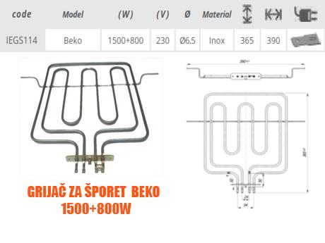 Grijač grijači šporeta štednjaka Beko 1500+800W Elektro Vukojevic