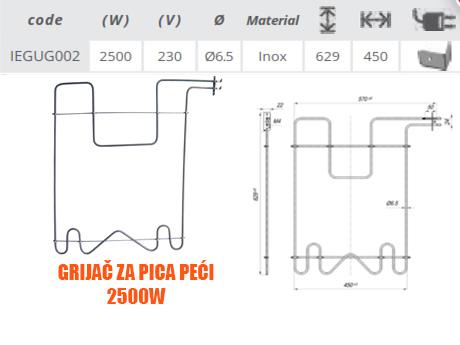 Grijač/grijači šporeta/štednjaka pica peći 2500W