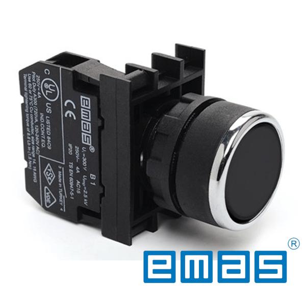Taster crni sa adapterom 1NO kontaktom, fi 22mm EMAS Elektro Vukojevic