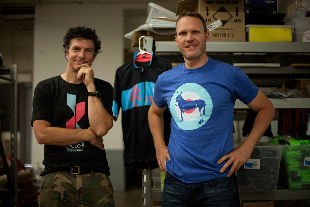 Founder and product designer Paul Krumrich, right, and James Tainter are the team behind Minneapolis-based Donkey Label cycling apparel. (Photo: David Pierini)