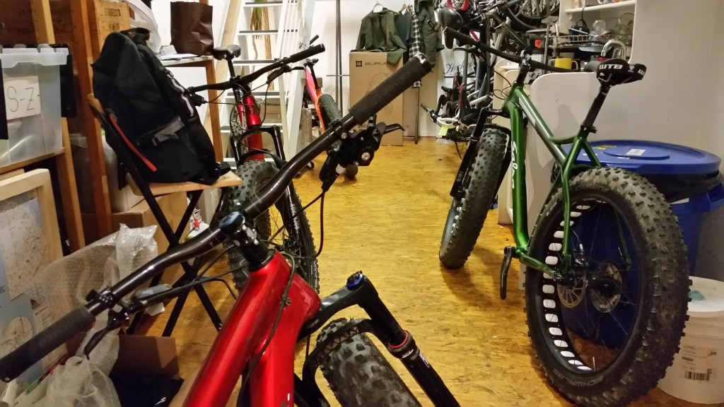 Four fatbikes, all in a row.