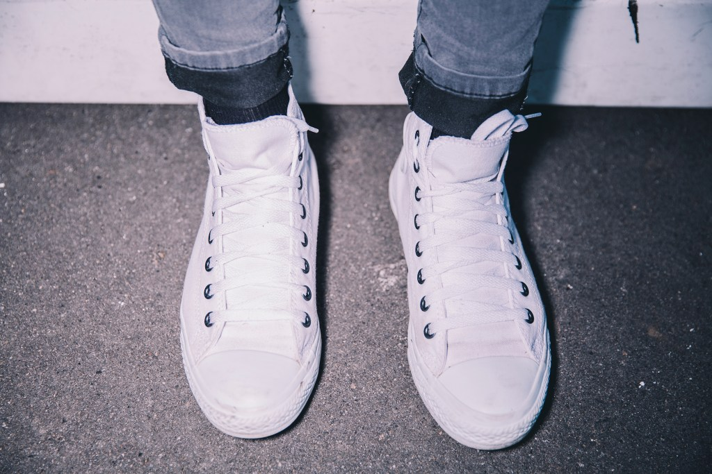 Impeccably clean and laced Converse High Tops