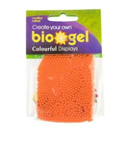 Orange biogel water beads in packaging