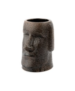 Picture of the front of a large easter island head pot