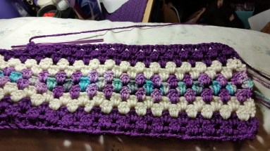 In progress as of as of today: A granny Stripe Afghan. This one will take a while.