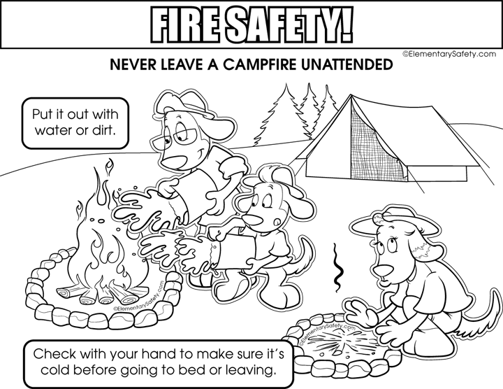 Campfire Safety Coloring Fire Safety