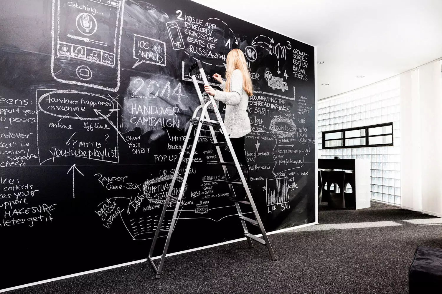 advertising agency creative board chalk board brainstorm