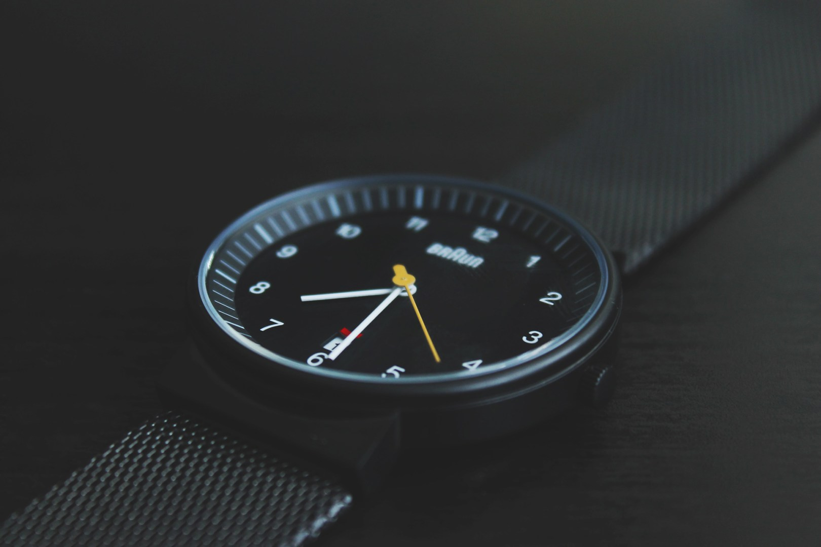 A wristwatch laying on a table