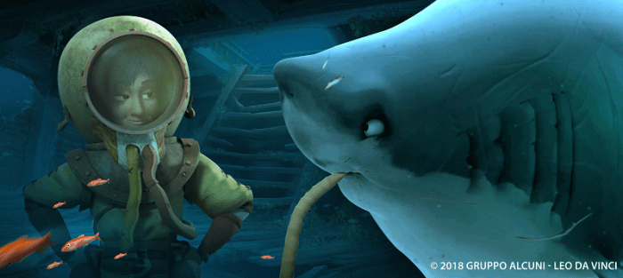 Leo and the shark in Leo Da Vinci_ Mission Mona Lisa (1)