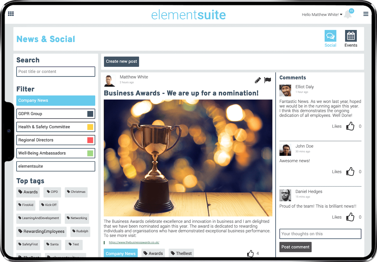 elementsuite engage view