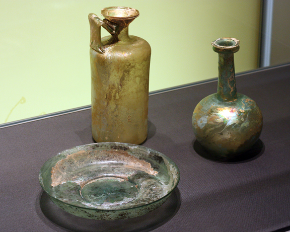 """Roman glass display in the """"Making Modernity"""" exhibit at CHF."""