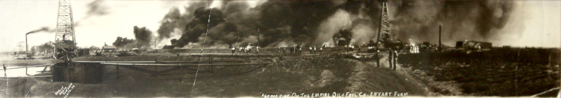 Oil well fire near El Dorado, KS in the 1920s