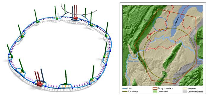 Схематичный общий вид 98-километрового туннеля FCC