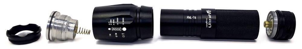 UltraFire W878 szétszedve
