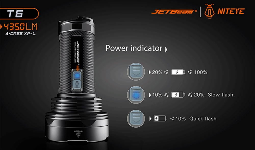 JETBeam T6 power indicator banner