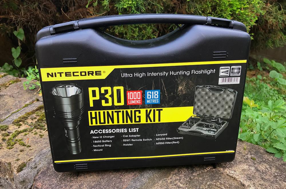 Nitecore P30 vadász szett doboza