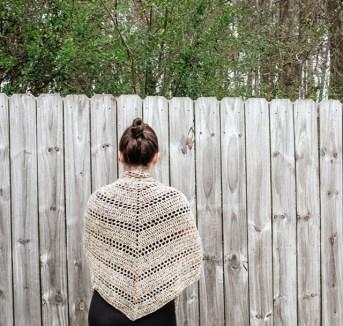 Spanish Moss Crochet Wrap worn