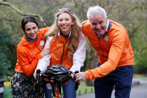 At the launch of 2016 Cycle Against Suicide were Cycle Against Suicide ambassadors Irish actress Charlene McKenna and rugby pundit Brent Pope with Cycle Against Suicide volunteer Clara Hickey from Clonshaugh. Photo: Conor McCabe Photography