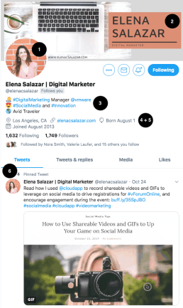 Screenshot of @elenacsalazar's Twitter profile with icons to help you optimize your Twitter profile.