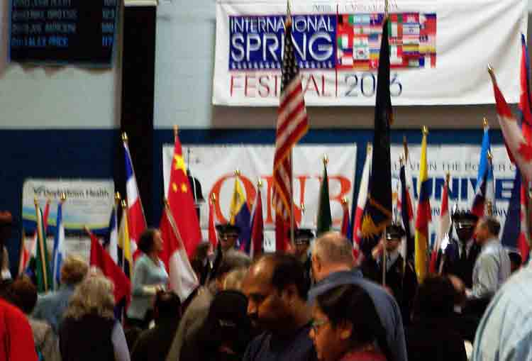 Opening ceremonies and flags of the countries