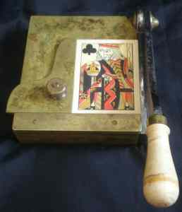 Card cutters were used to cut the frayed edges off cards.