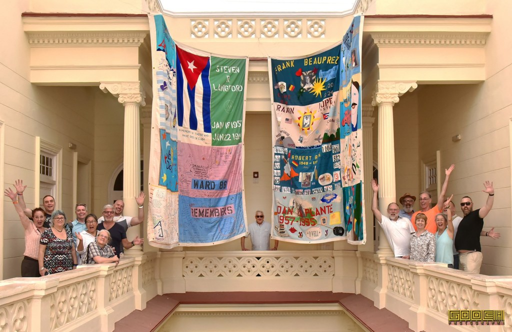 In May of 2019, panels from the AIDS Memorial Quilt hung in the National Center for Sexual Education in Havana, Cuba