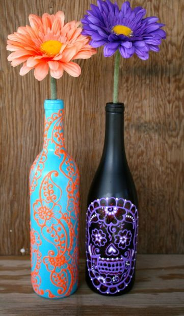 vaze pictate din sticla