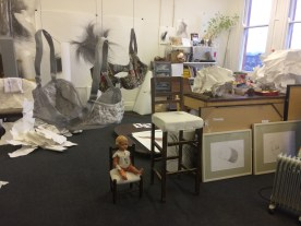 """A view past """"the girls"""" to Sarah Goudie's half of the studio..."""