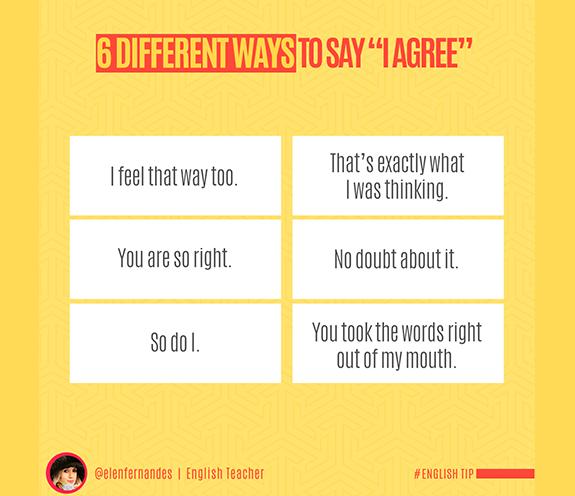"BLOG DIFFERENT WAYS TO SAY I AGREE - 6 Different ways to say: "" I Agree""."
