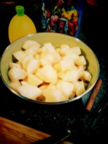 Cut-up pears