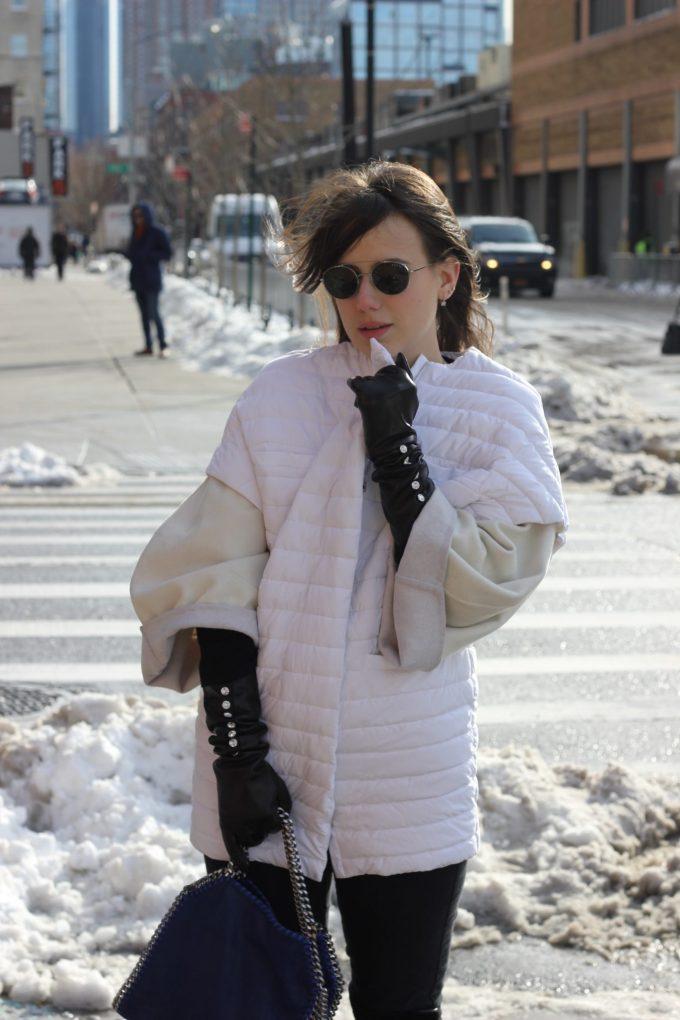 eleonora milano guanti neri in pelle antonella ferrante nyfw occhiali sole robe