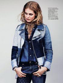 Erin Heatherton Models Denim Styles in Elle France by Bjarne Jonasson - fashiongonerogue.com