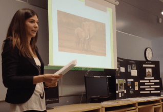 Andrea educating the teachers about the poaching crisis