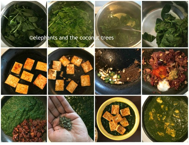 spinach tofu curry steps