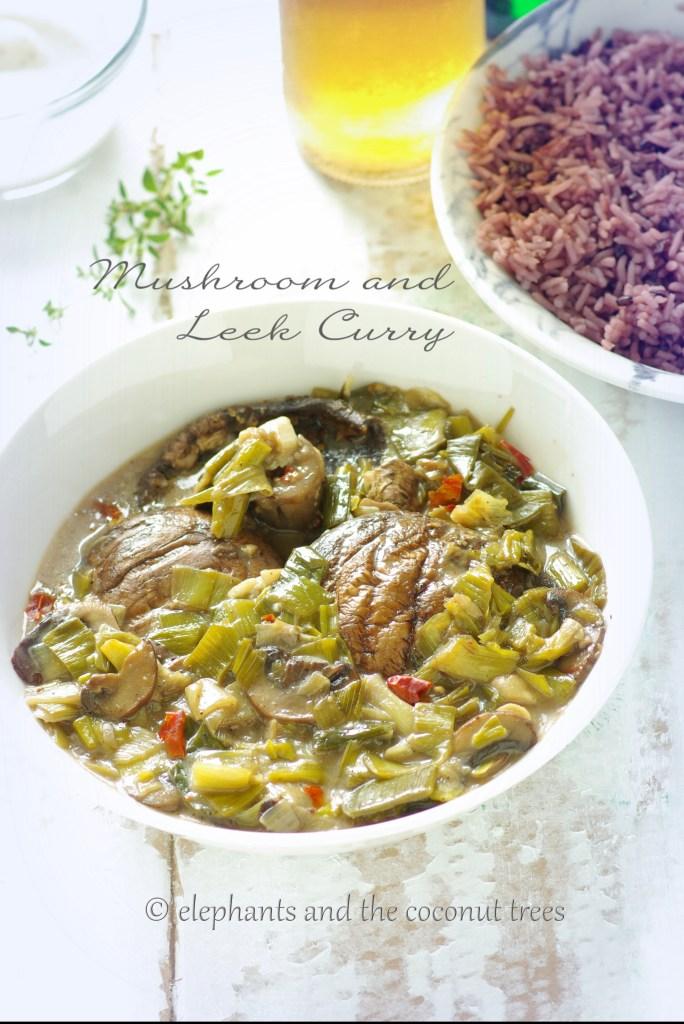 Leek n mushroom curry,Vegetable curry recipes