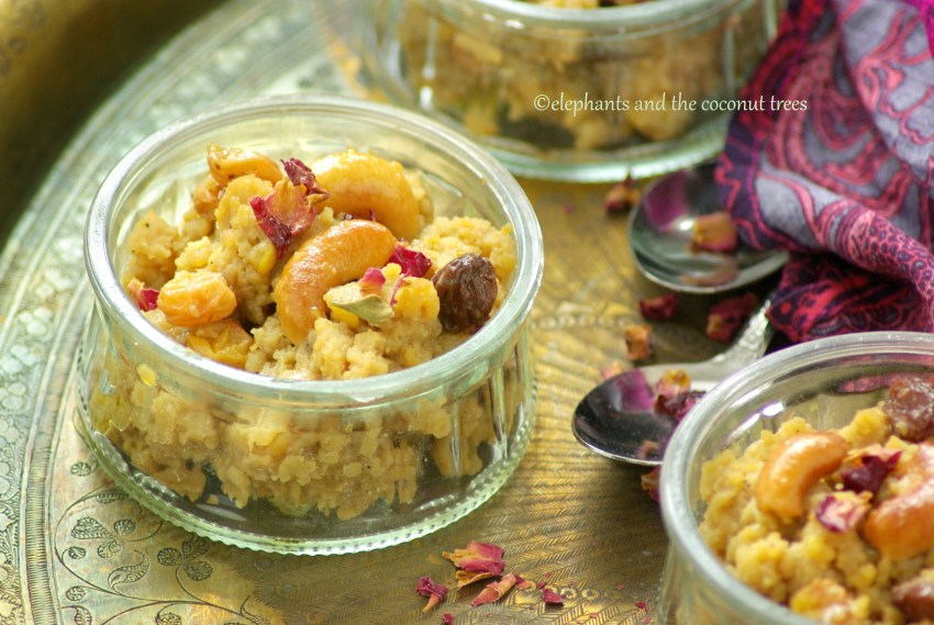 Rice and lentil sweet pudding made in instant pot with jaggery