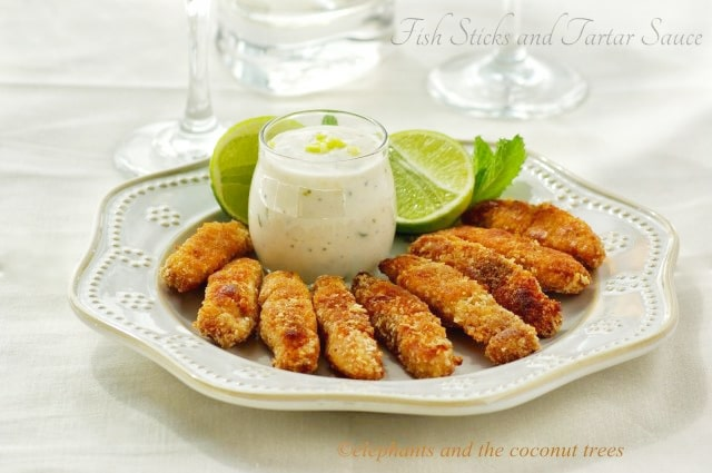 fish sticks with tartar sauce - elephants and the coconut trees