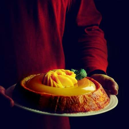 mango cake with jelly on top