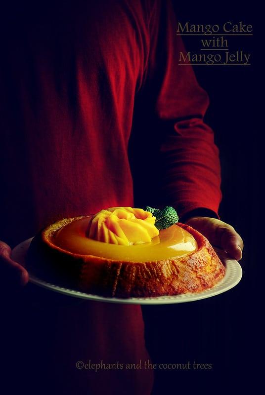 Mango cake with mango jelly , Baked goods