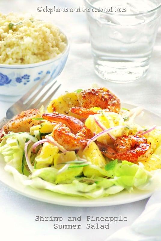 Shrimp pineapple summer salad