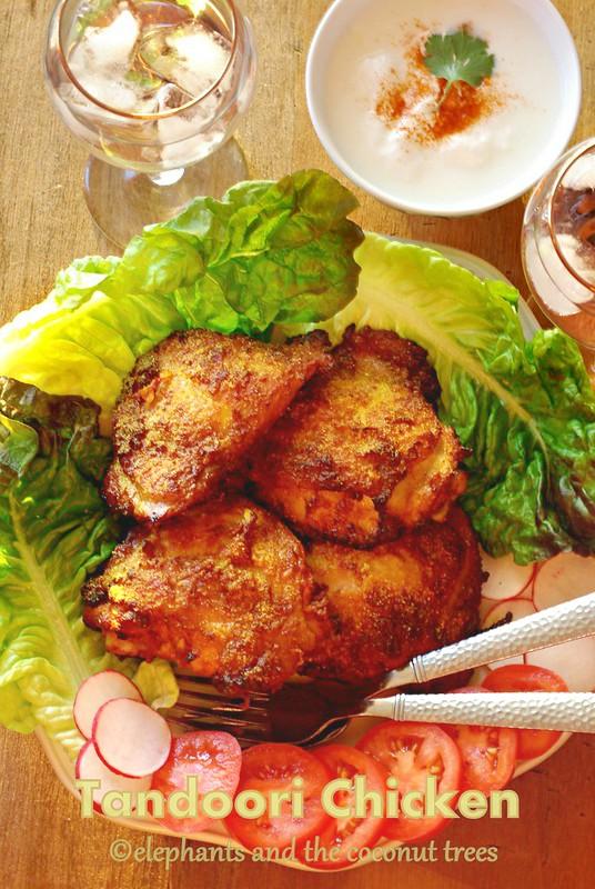 Baked chicken , Tandoori chicken