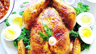 Whole roasted chicken in Kerala masala