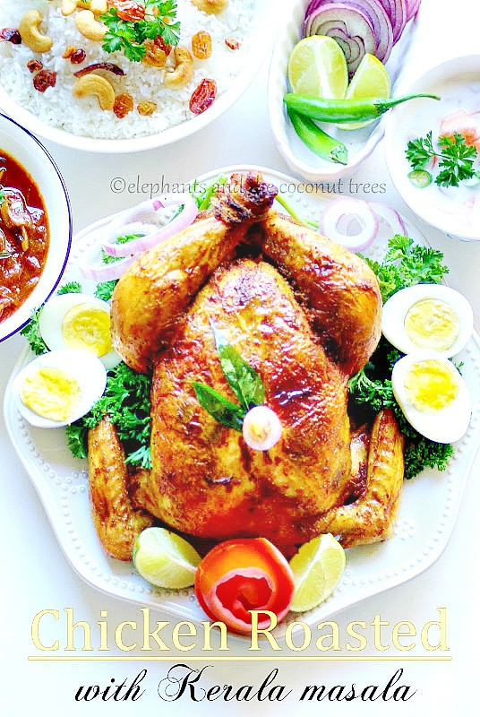 Whole Roasted Chicken- Kerala Style with step by step pictures / Whole Roasted Chicken in spicy Indian masala with less oil/ Christmas Special Menu