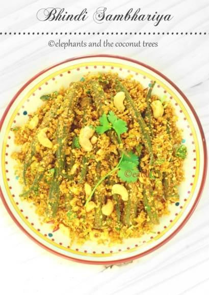 Thumbnail for Bhindi Sambhariya / Okra stir fry with raw coconut / no onion no garlic recipe
