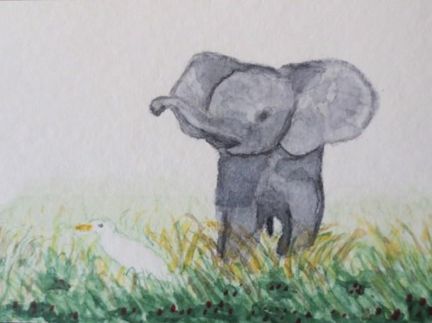 elephant art addison baby elephant with bird egret 011 (3)